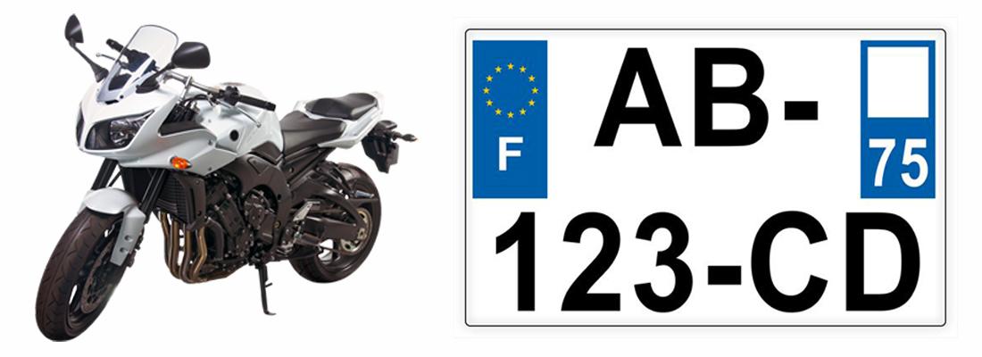 plaques d'immatriculation de motos